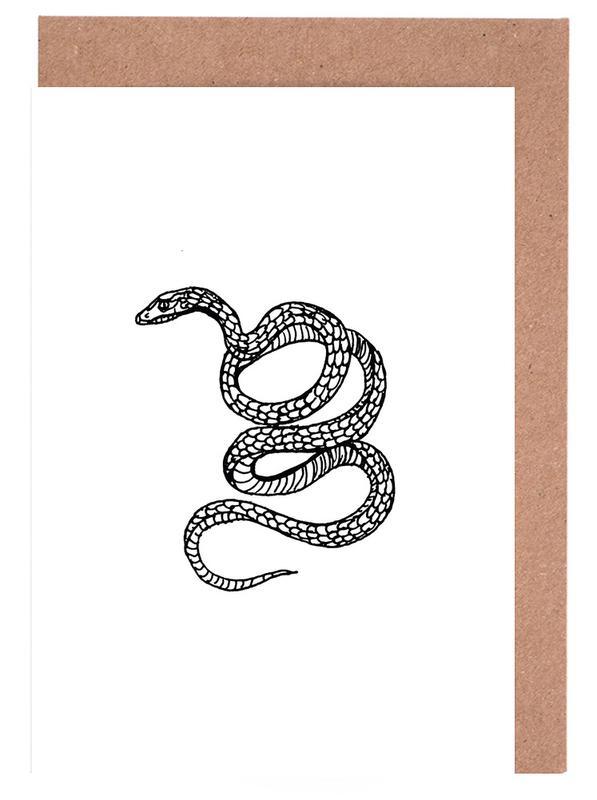 Noir & blanc, Street Art, Snake White cartes de vœux