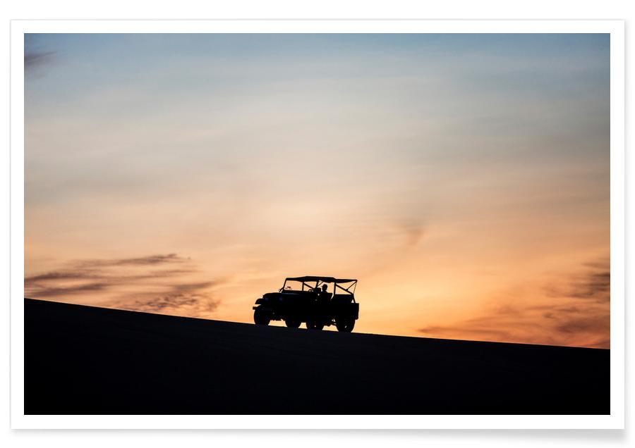 Auto's, Zonsondergangen, Sunset Sillhouettes poster