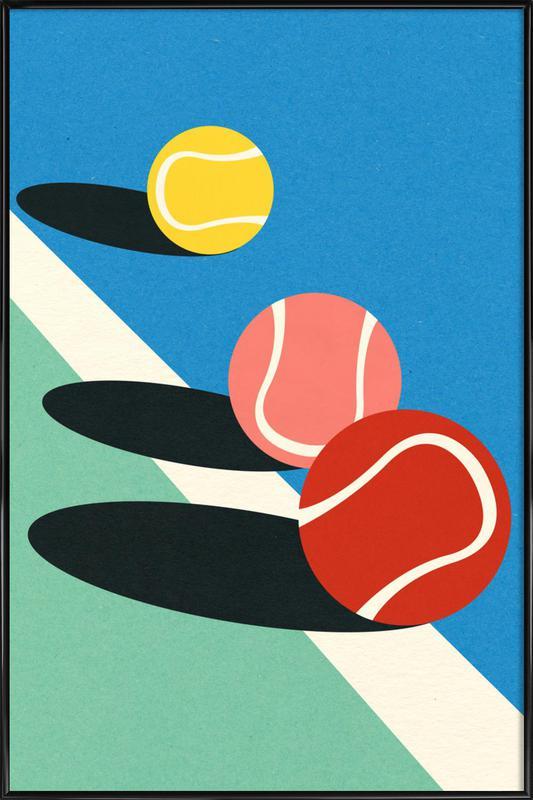 3 Tennis Balls -Bild mit Kunststoffrahmen