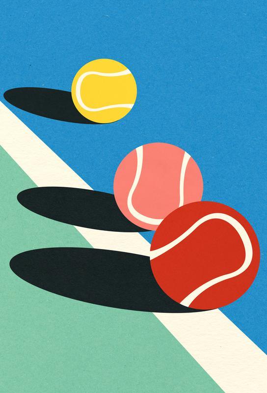 3 Tennis Balls -Acrylglasbild