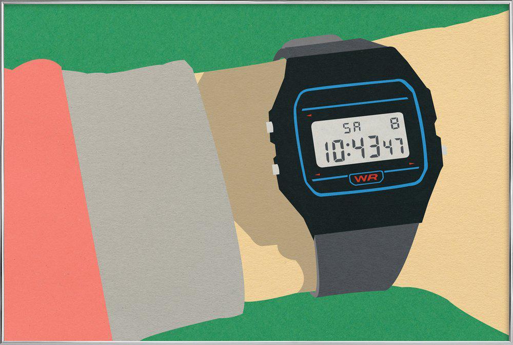 90s Watch affiche sous cadre en aluminium
