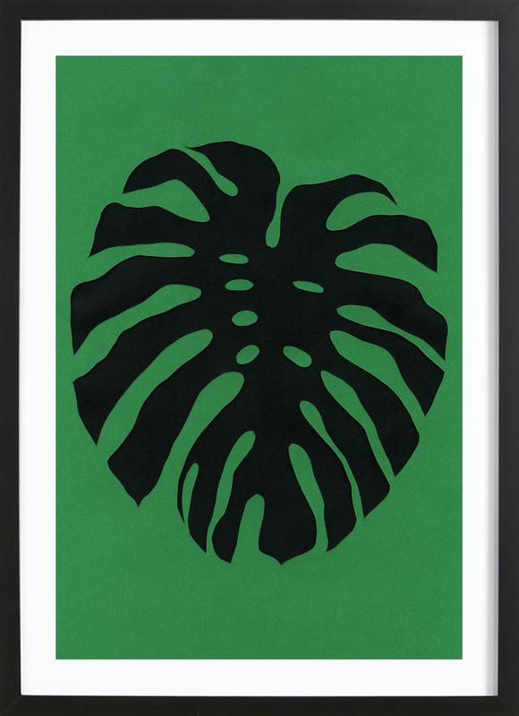 Black Monstera -Bild mit Holzrahmen