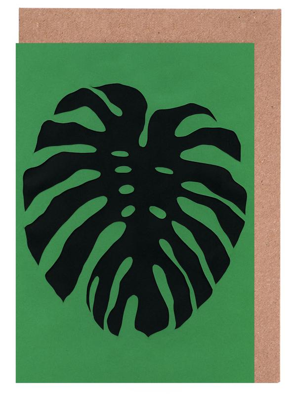 Black Monstera Greeting Card Set