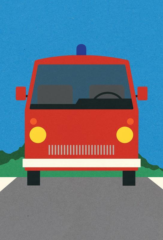 Voitures, Art pour enfants, Fire Engine Impression sur alu-Dibond