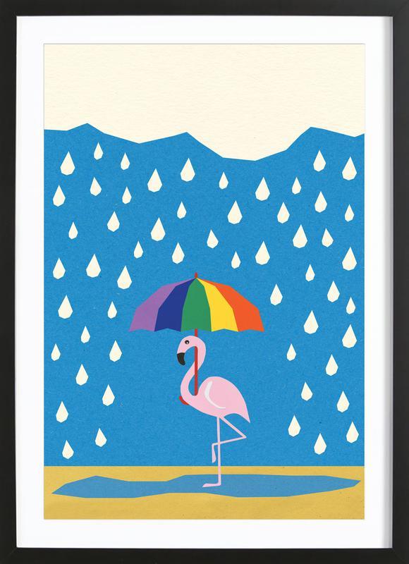 Flamingo de Umbrella Framed Print