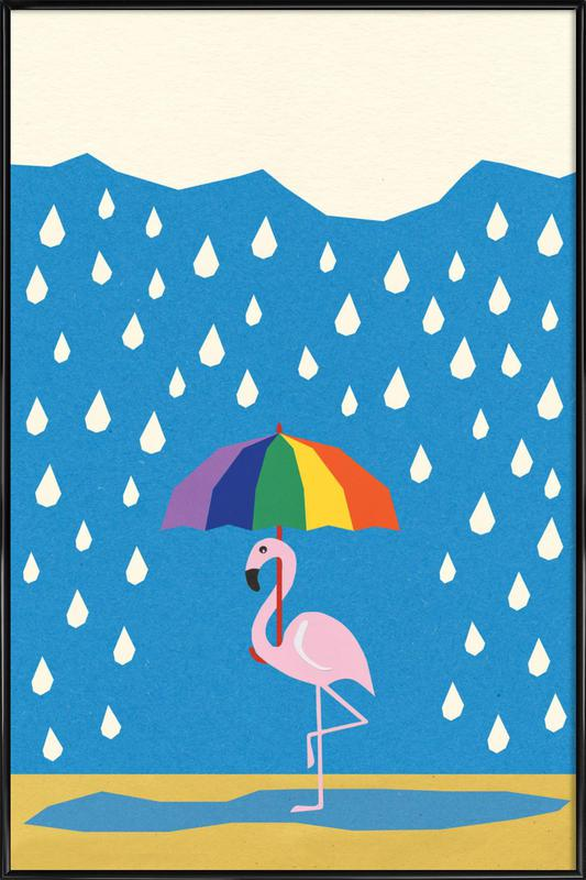 Flamingo de Umbrella ingelijste poster