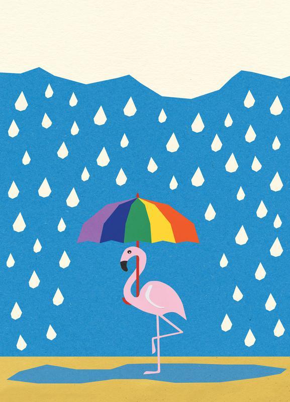 Flamingo de Umbrella canvas doek