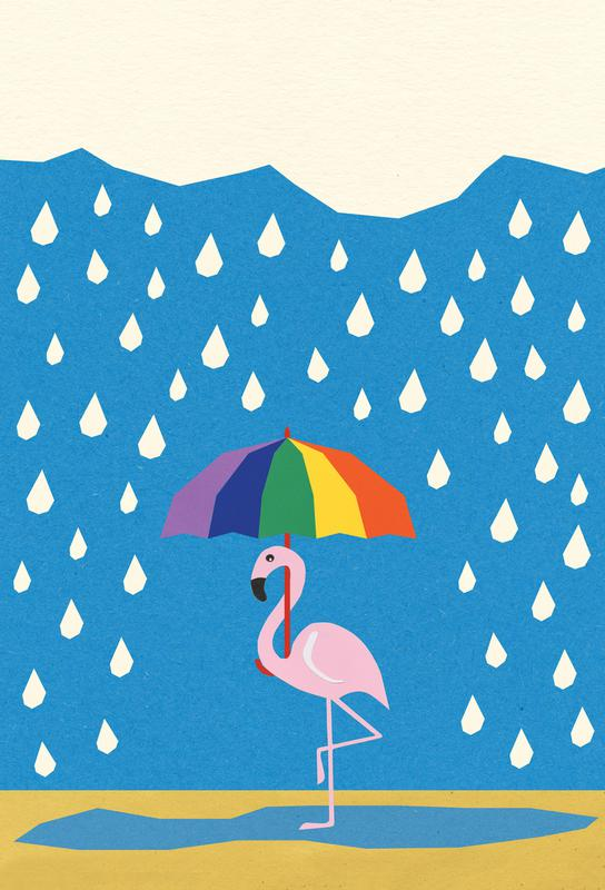 Flamingo de Umbrella Aluminium Print