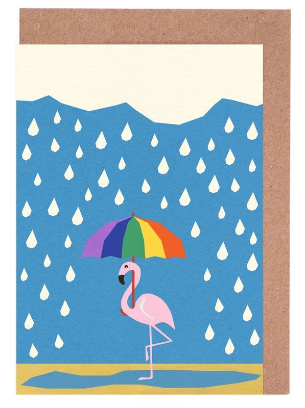 Flamingo de Umbrella Greeting Card Set