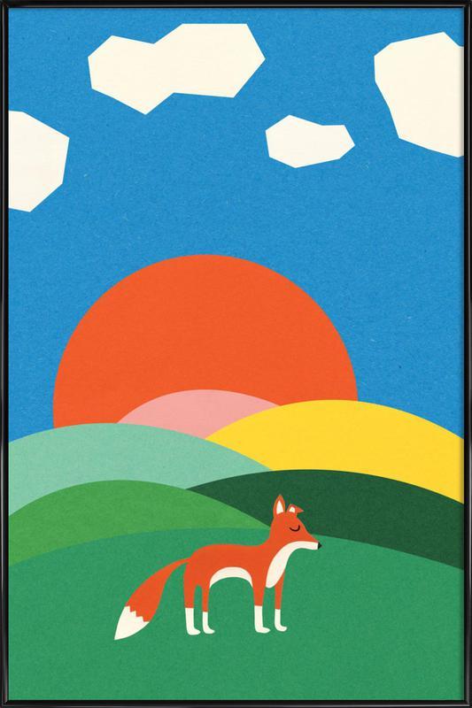 Fox and Field -Bild mit Kunststoffrahmen