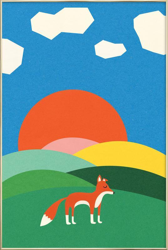 Fox and Field -Poster im Alurahmen