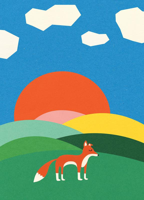 Fox and Field -Leinwandbild