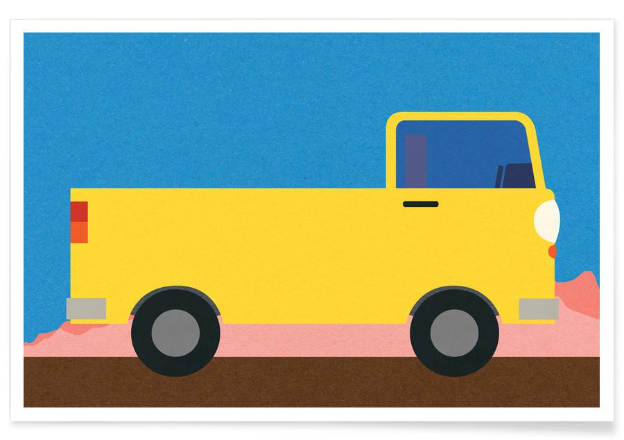 Little Yellow Pickup Truck Poster