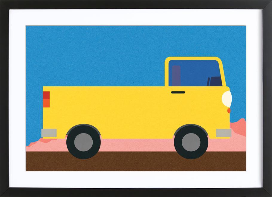 Little Yellow Pickup Truck -Bild mit Holzrahmen