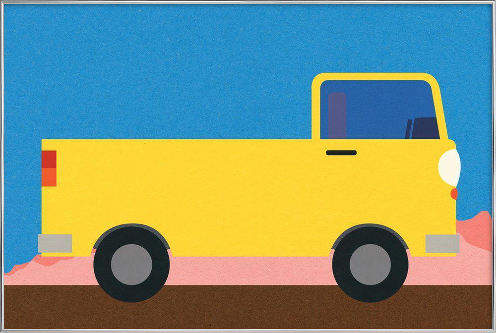 Little Yellow Pickup Truck Poster in Aluminium Frame