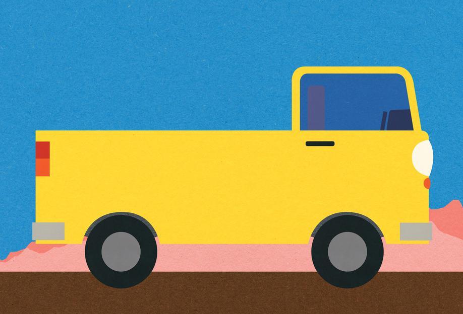 Little Yellow Pickup Truck Impression sur alu-Dibond