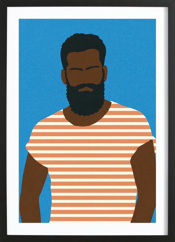 Man with Striped Shirt -Bild mit Holzrahmen