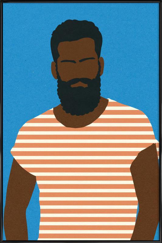Man with Striped Shirt -Bild mit Kunststoffrahmen