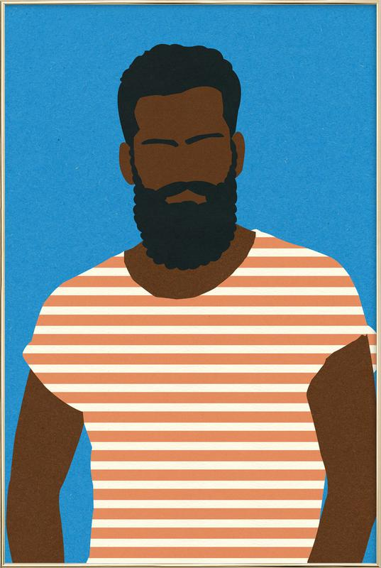 Man with Striped Shirt Poster in Aluminium Frame
