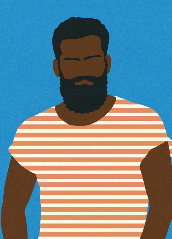 Man with Striped Shirt -Leinwandbild