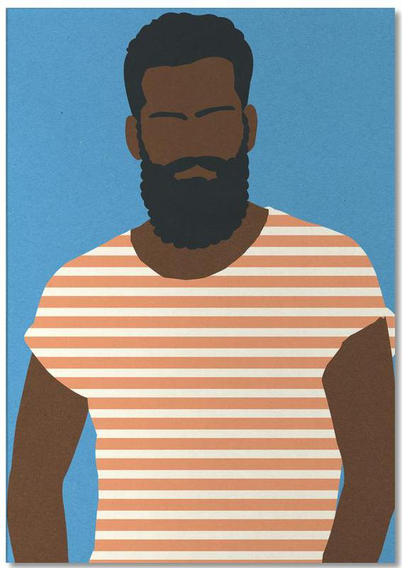 Man with Striped Shirt Notepad