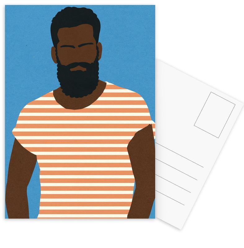Man with Striped Shirt Postcard Set