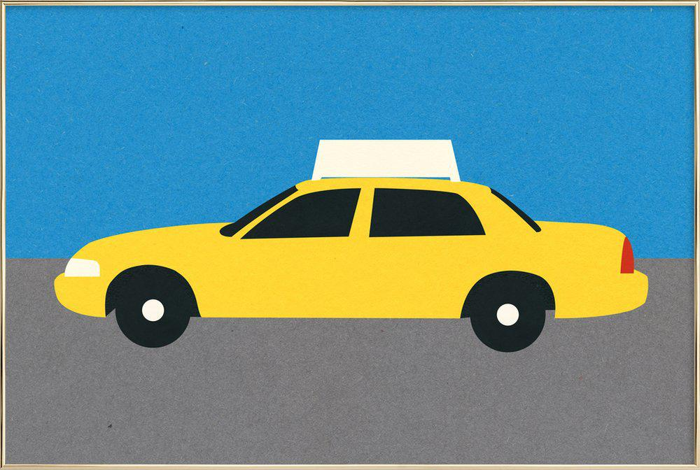 New York TAXI poster in aluminium lijst
