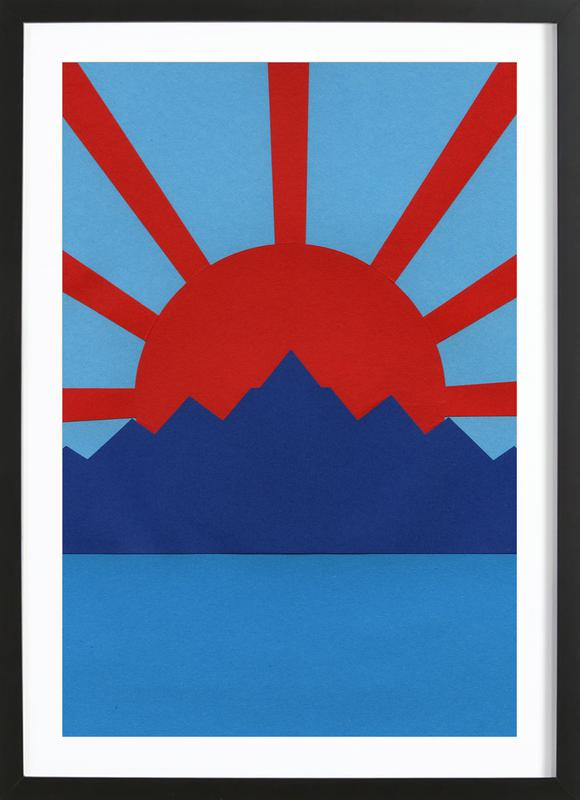 Ocean Moutains Rising Sun Framed Print