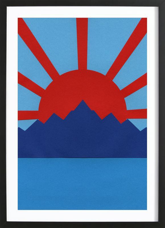 Ocean Moutains Rising Sun ingelijste print