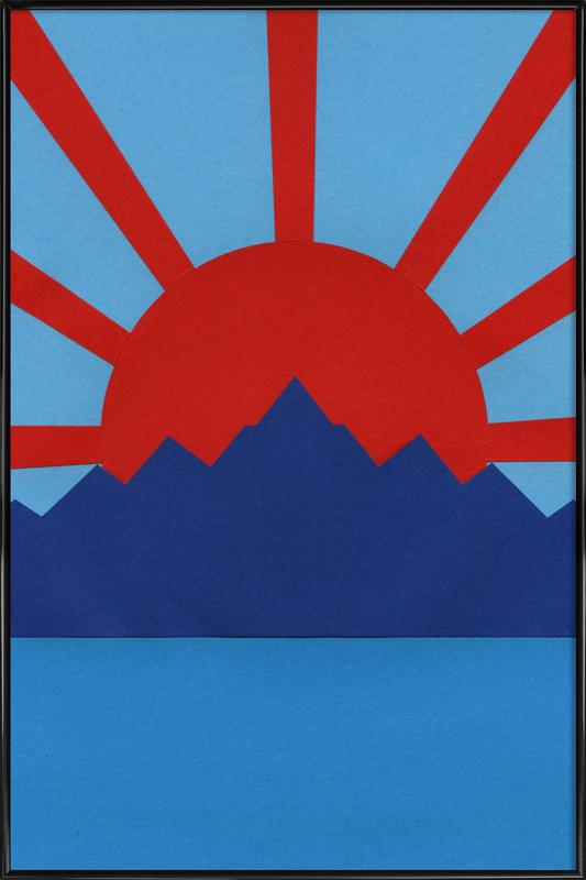 Ocean Moutains Rising Sun Framed Poster