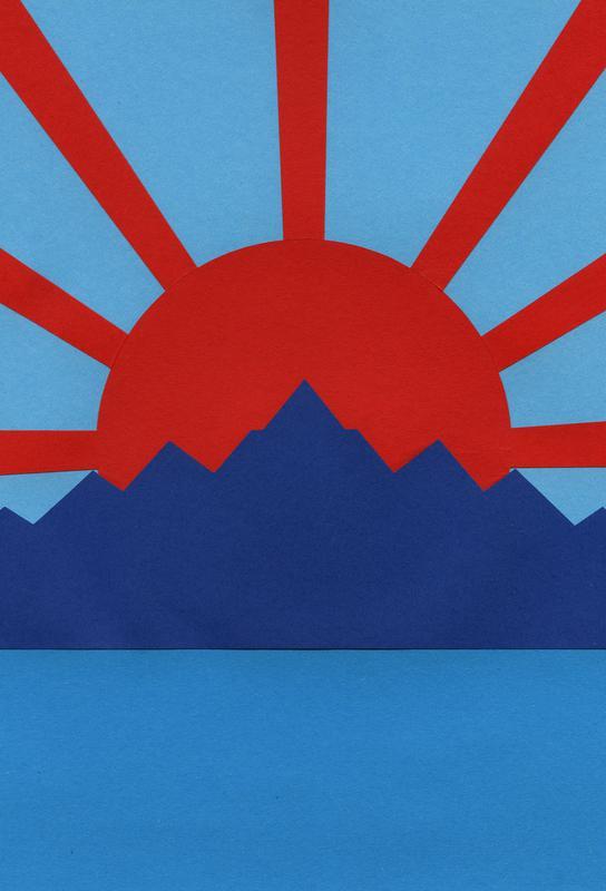 Ocean Moutains Rising Sun acrylglas print
