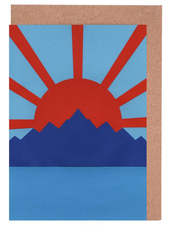 Ocean Moutains Rising Sun Greeting Card Set