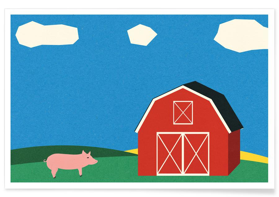 Pig and Barn Poster