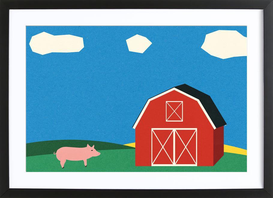 Pig and Barn ingelijste print