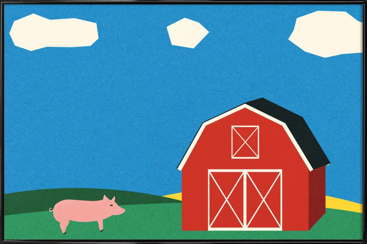 Pig and Barn ingelijste poster
