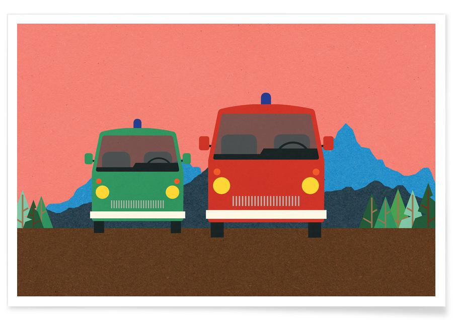 Police Bus and Fire Engine -Poster
