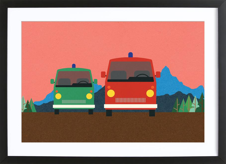 Police Bus and Fire Engine ingelijste print