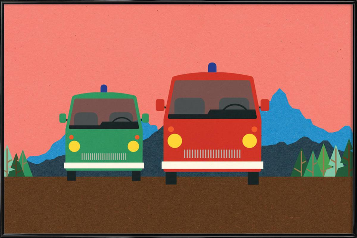 Police Bus and Fire Engine Framed Poster