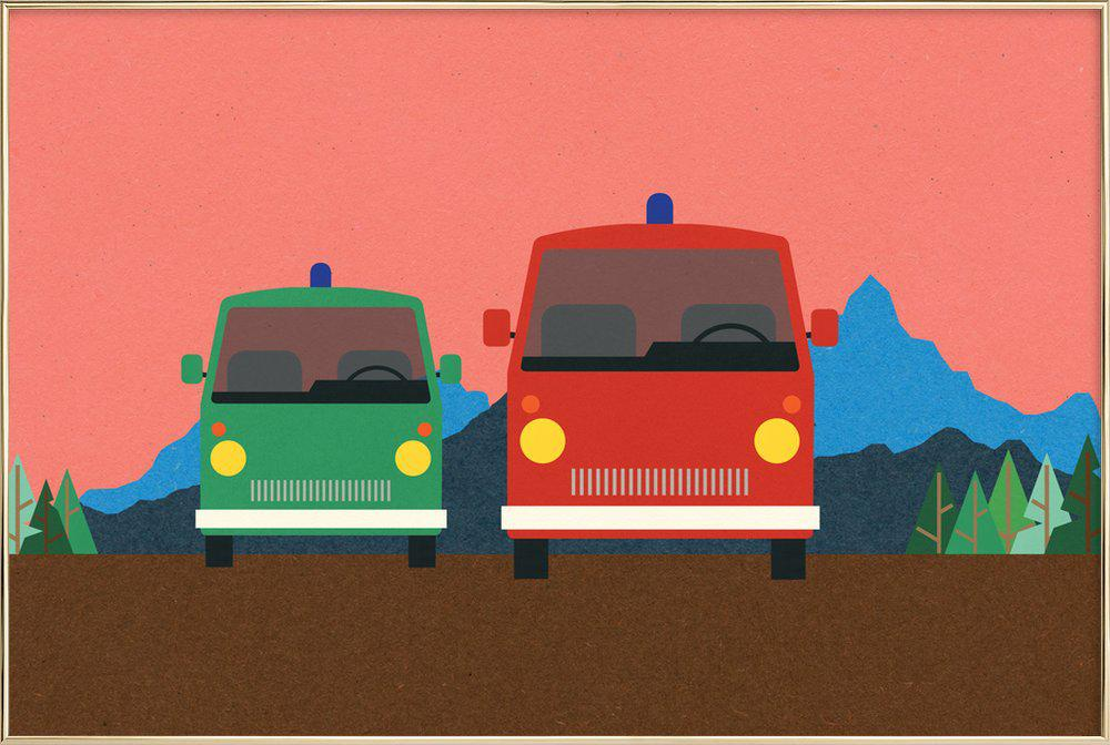 Police Bus and Fire Engine poster in aluminium lijst