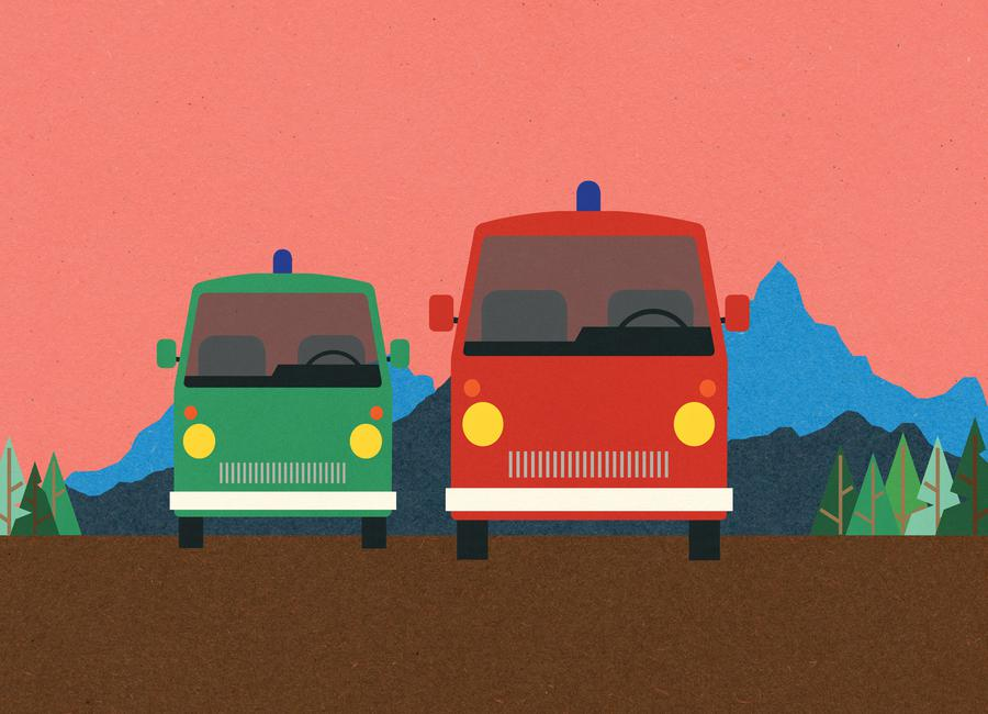 Police Bus and Fire Engine canvas doek