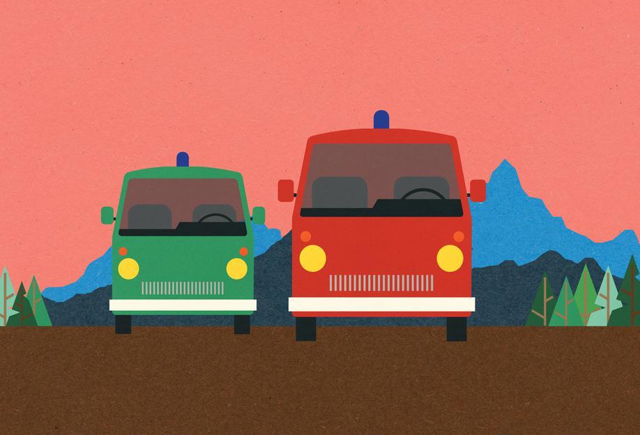 Police Bus and Fire Engine acrylglas print