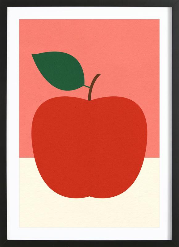 Red Apple -Bild mit Holzrahmen