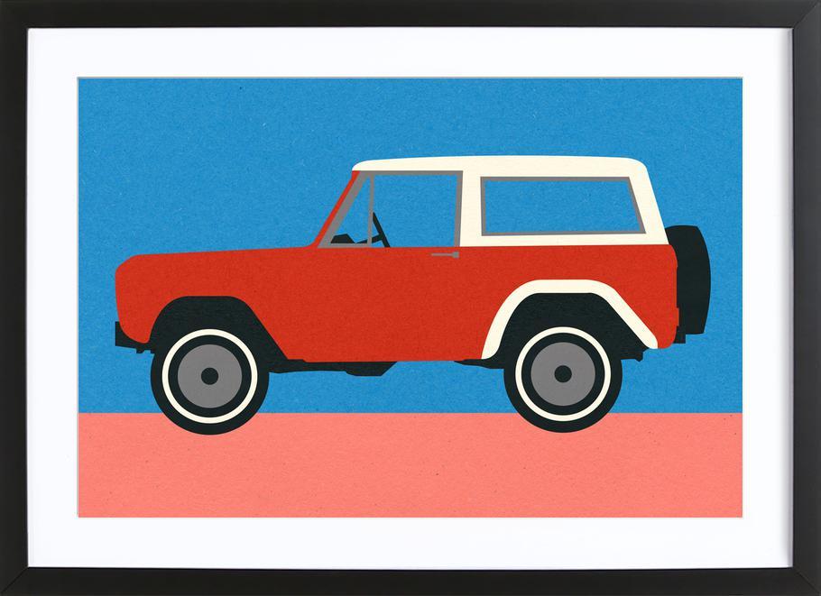 Red SUV -Bild mit Holzrahmen
