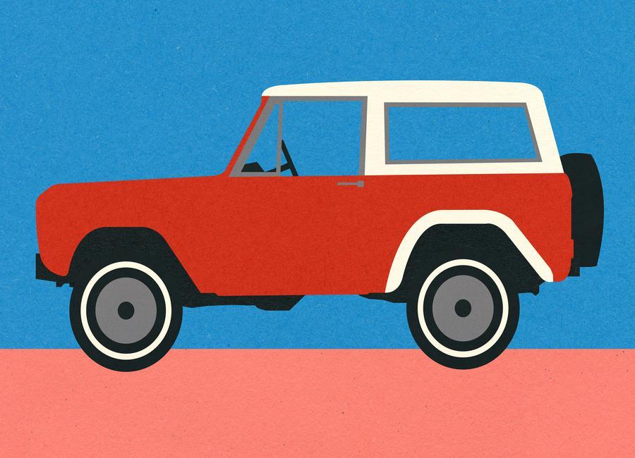 Red SUV canvas doek