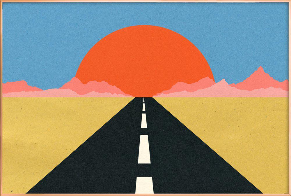 Road to Sun poster in aluminium lijst