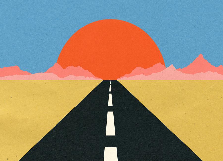 Road to Sun canvas doek
