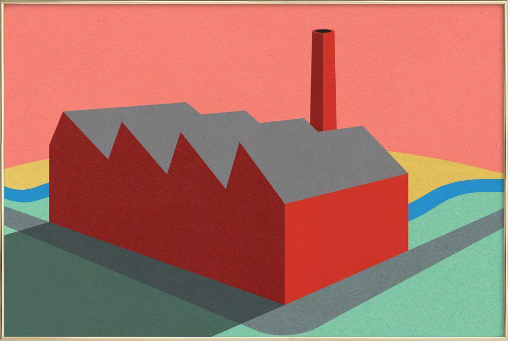 Sunset Factory Poster in Aluminium Frame