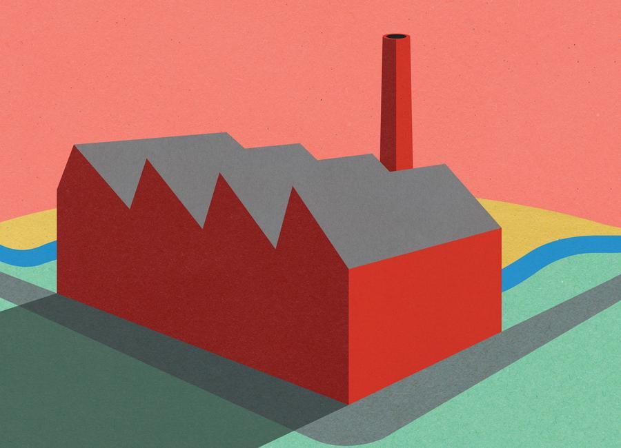 Sunset Factory Canvas Print