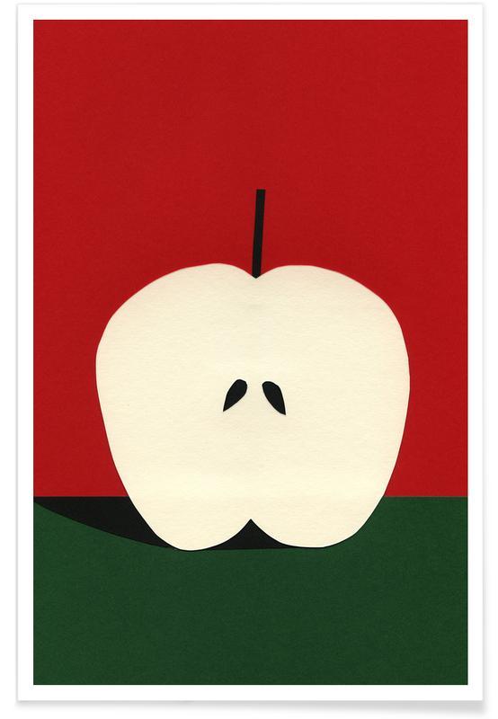 Appels, Kunst voor kinderen, Half Red Apple poster