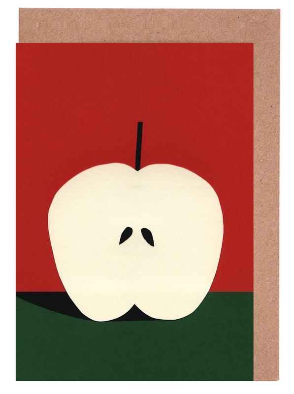 Half Red Apple Greeting Card Set